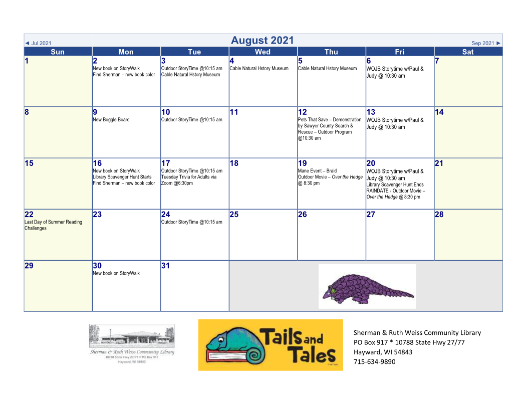August 2021 library events